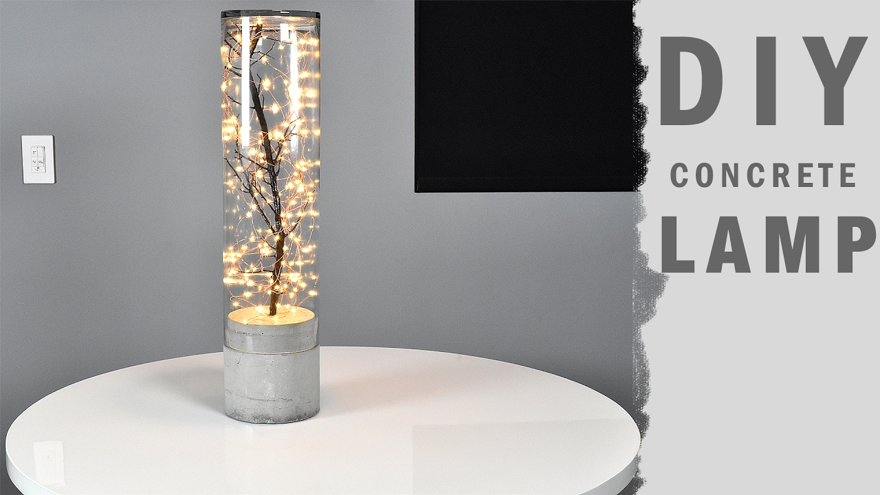 DIY Concrete Lamp Indoor Outdoor - YouTube