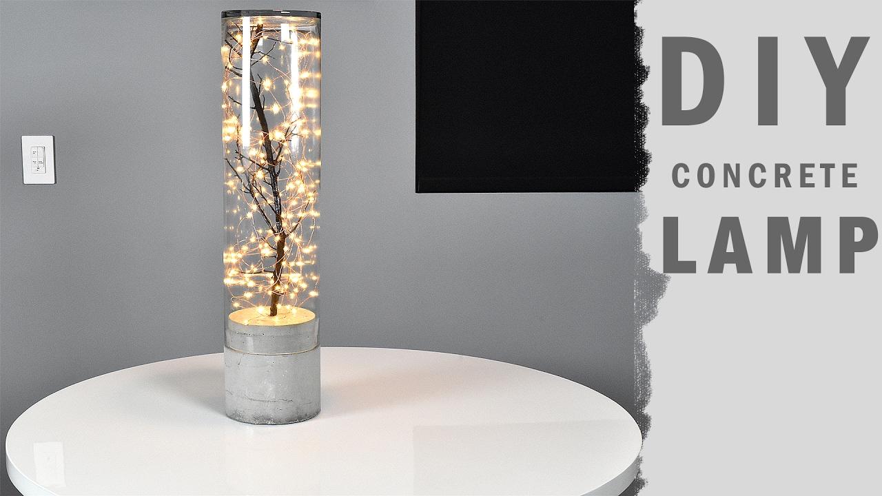 DIY Concrete Lamp Indoor Outdoor - YouTube