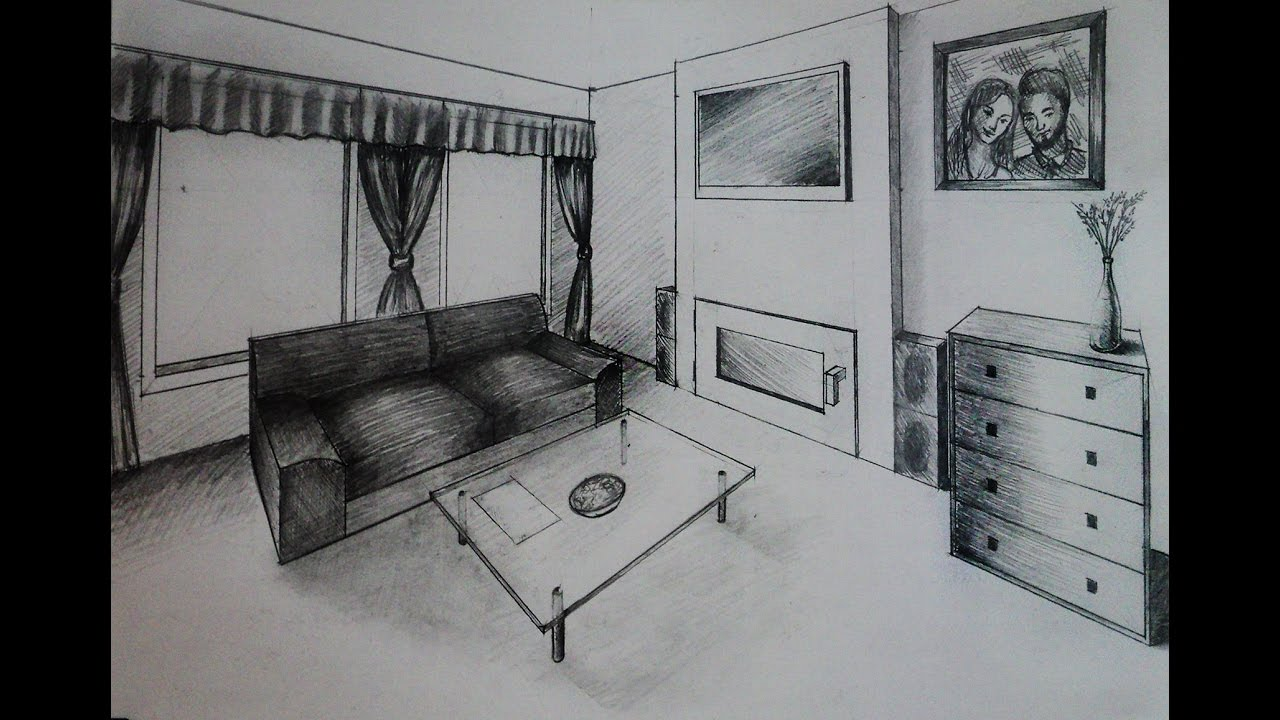 How to draw living room with fireplace two point - One point perspective drawing living room ...