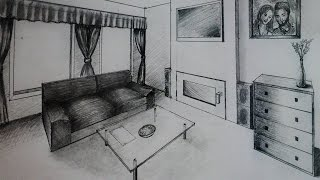 How to draw - Living room with fireplace - Two point perspective