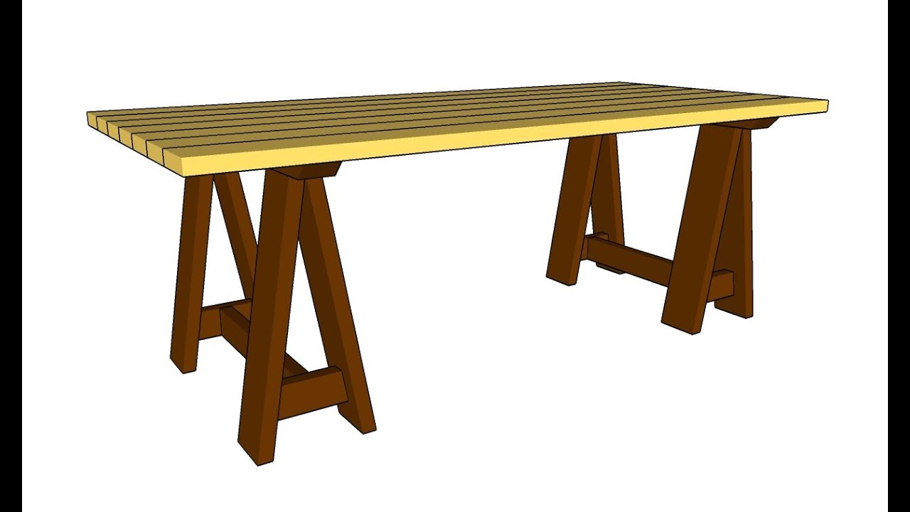 How To Build A Sawhorse Table Youtube