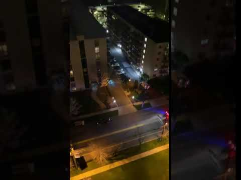 Hackensack held a clap-out for healthcare workers at 8 p.m. Monday, some of those workers listened from the nearby Hackensack University Medical Center. Footage taken on Prospect Avenue, right down the street from the hospital.