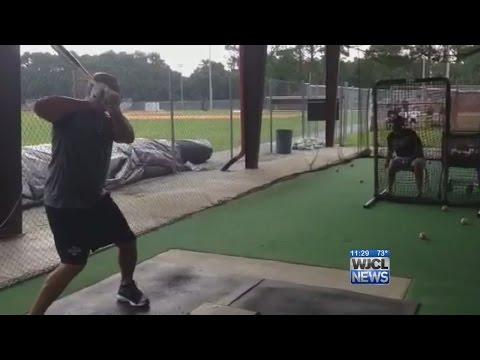 Albert Pujols takes Batting Practice at Benedictine