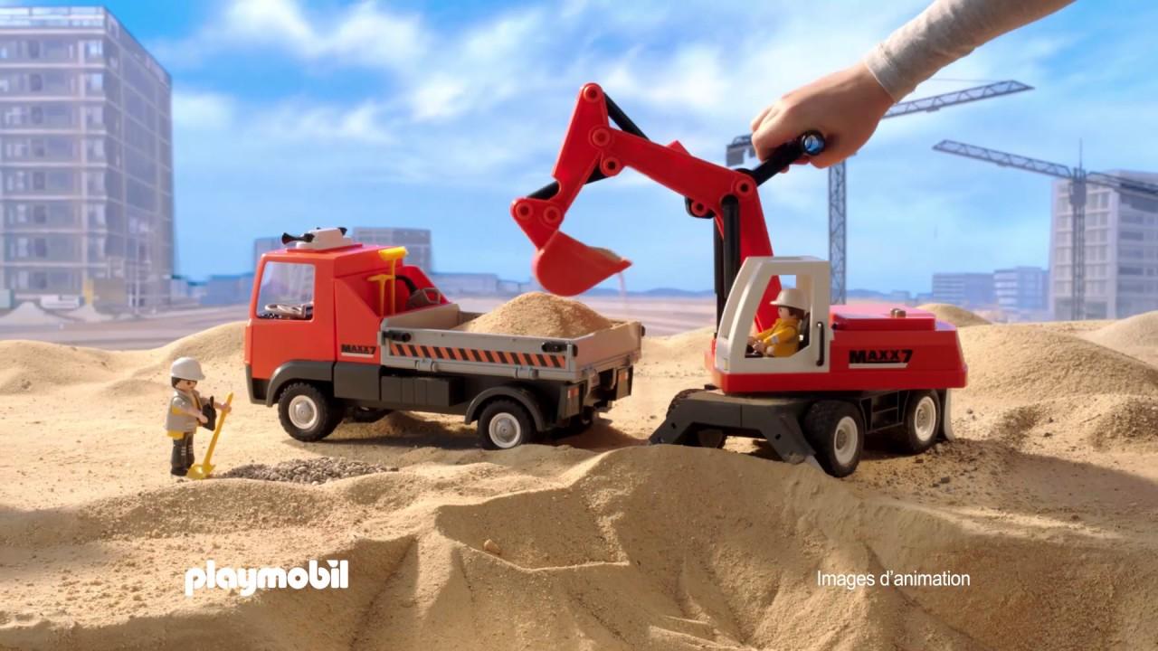 playmobil le camion de chantier et le tractopelle fran ais youtube. Black Bedroom Furniture Sets. Home Design Ideas