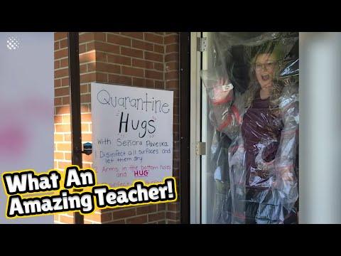 Elementary school teacher has created a 'free hugs booth' | Teacher In Lockdown