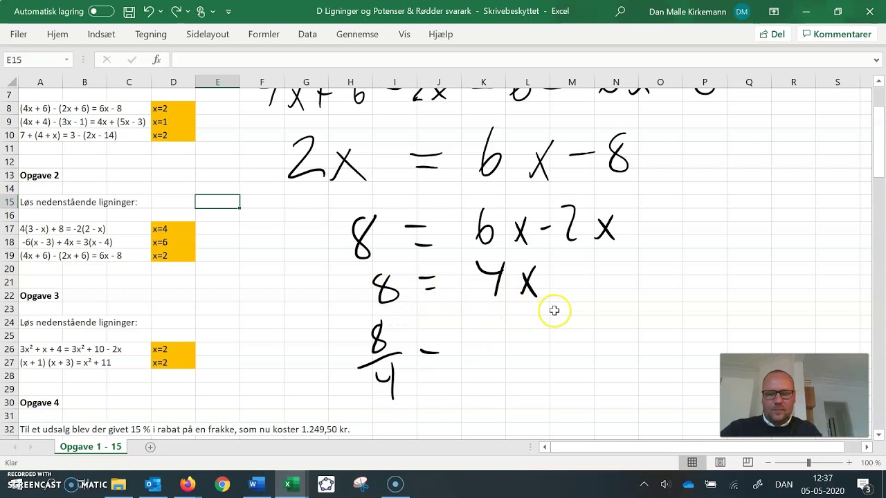 Mat D Ligninger lektier opg. 1-3 løsning