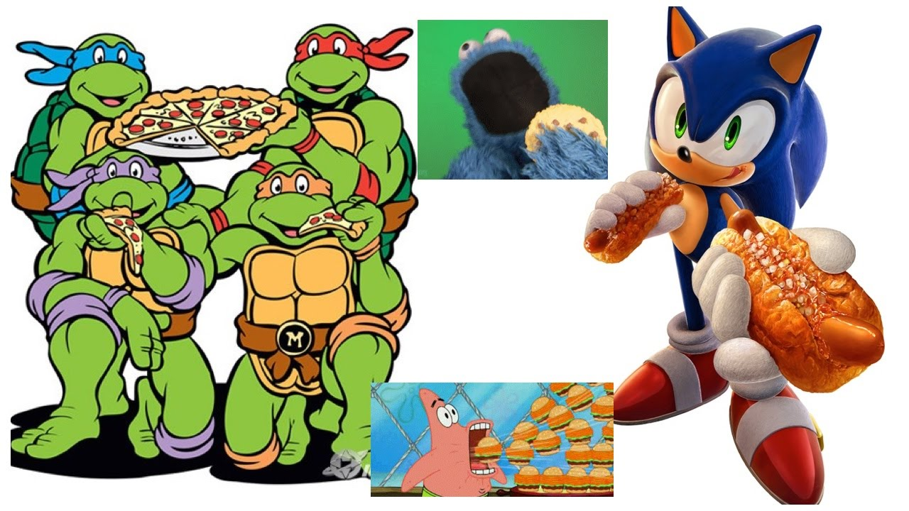 Tmnt And Other Cartoons Eating Their Favorite Foods Youtube