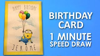 birthday card cards drawing draw minion happy step minions diy drawings getdrawings learning