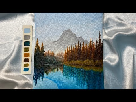 Painting a landscape with acrylic/ easy acrylic painting tutorial for beginners