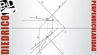 Recta perpendicular a otra recta, cortándola y pasando por un punto (Diédrico).