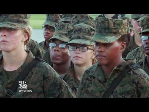 Female Marine recruits at boot camp strive to meet the same standards as men