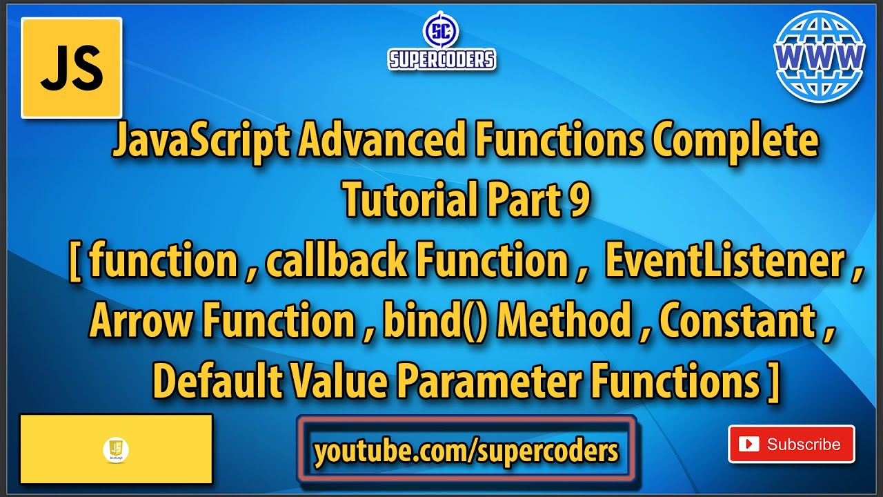 JavaScript Advance Functions Complete Tutorial  | All About Different Types of Functions in JS