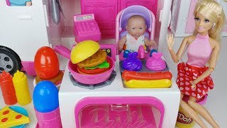 Baby doll and barbie food car kitchen cooking toys surprise egg play 아기인형 바비 푸드 트럭 주방놀이 요리 장난감 - 토이몽