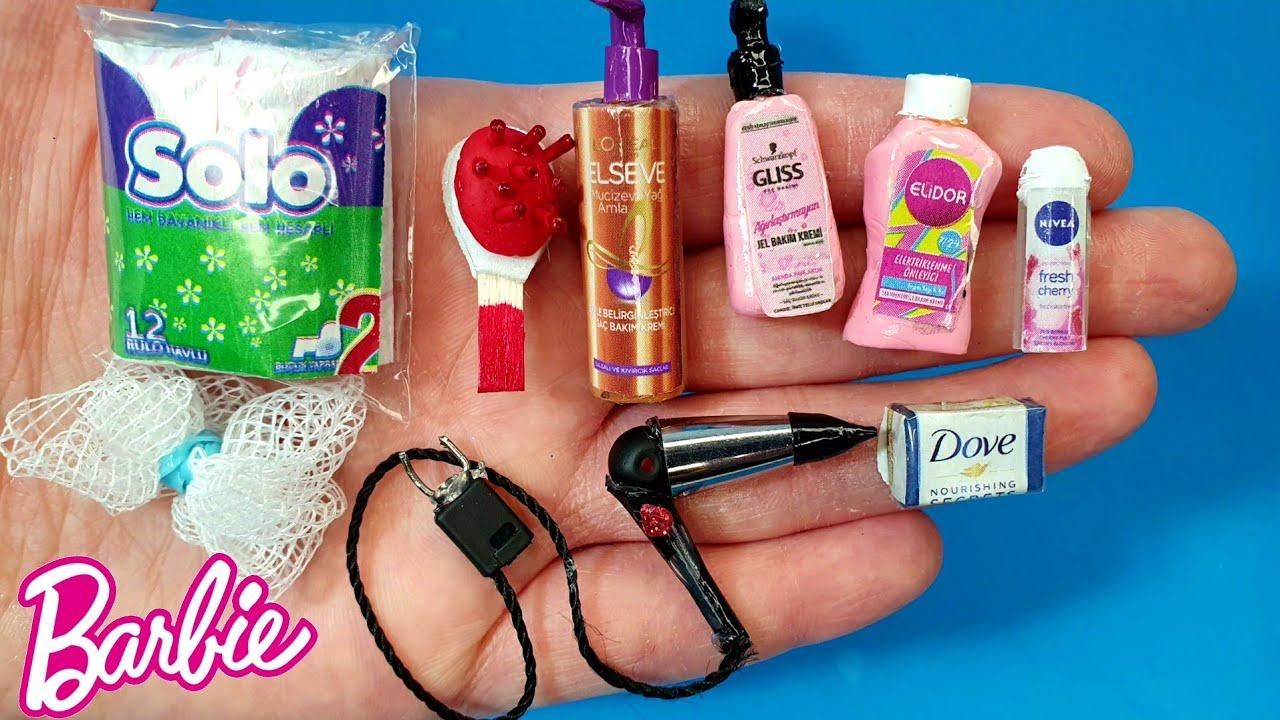 DIY Barbie Bebek İçin Minyatür Eşyalar Nasıl Yapılır | Barbie Eşya Yapımı ~ 5 dakikada hallet
