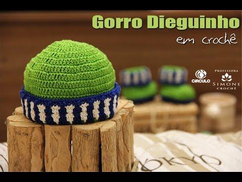Gorro infantil em crochê Dieguinho - Professora Simone - YouTube 8103397073b