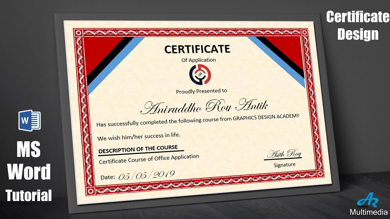 ms word tutorial  how to make all certificate design in