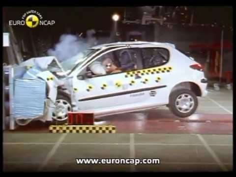 euro ncap peugeot 206 2000 crash test youtube. Black Bedroom Furniture Sets. Home Design Ideas