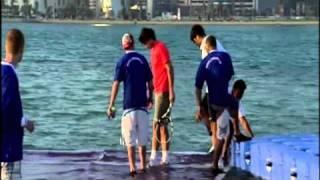 Federer, Nadal Hit Tennis Balls On Court In Doha Bay