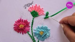 Bordando Flores de Dália com Fitas