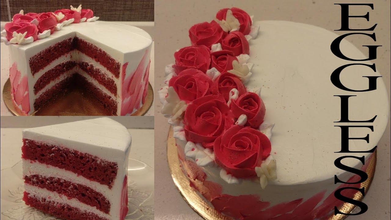 EGGLESS RED VELVET CAKE Recipe   Red Velvet Cake ...