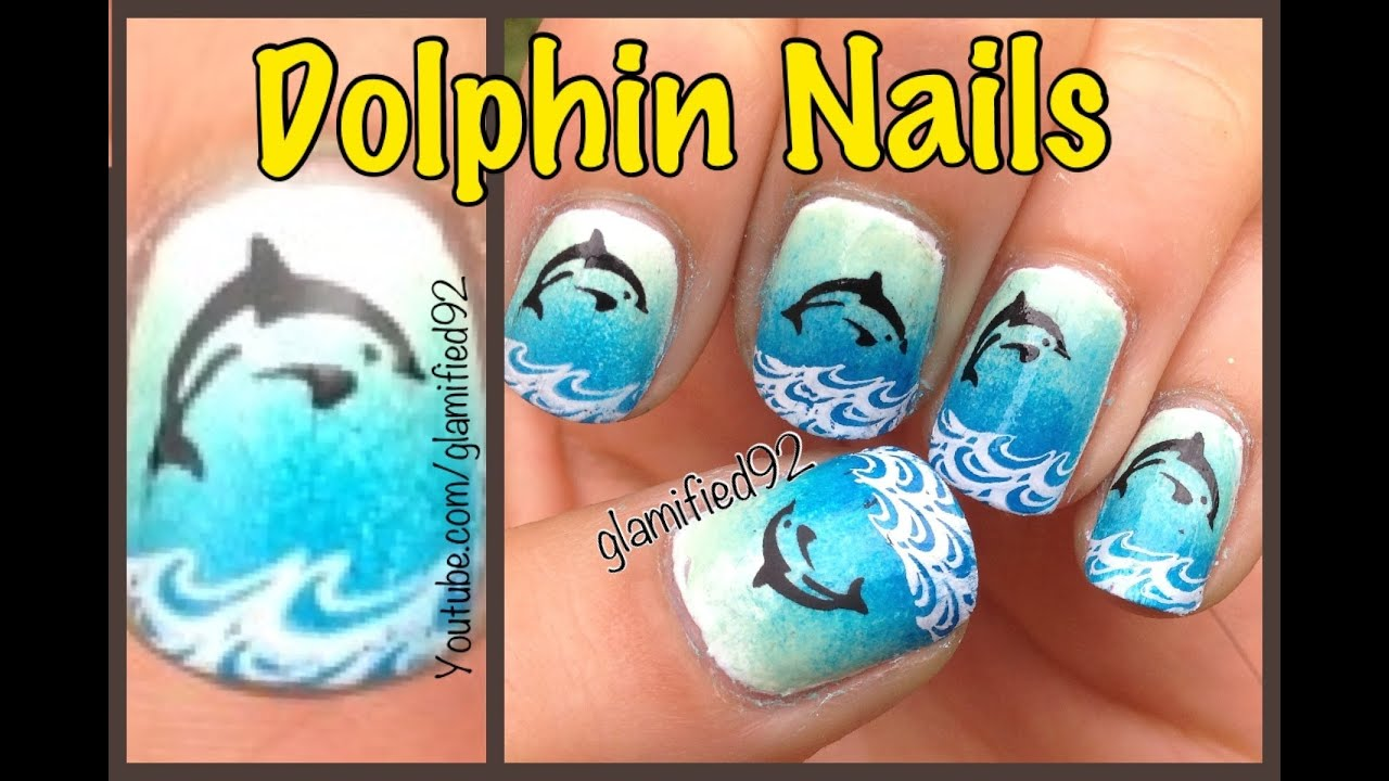 Ombre Dolphin Nails Konadbundle Monster Nail Stamping Nail Art
