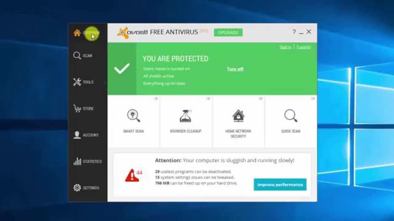 avast free virus protection for windows 10