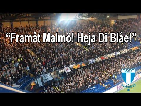 Framåt Malmö Heja Di Blåe - Malmo fans at Chelsea - watch until the end!
