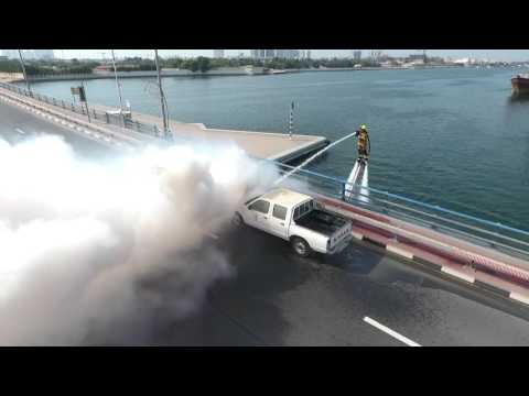 "Dubai Civil Defense unveiled the flying firefighter ""Dolphin"""