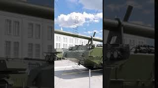 Vertical video. Self-propelled artillery. Pyshma, Ekaterinburg, Russia