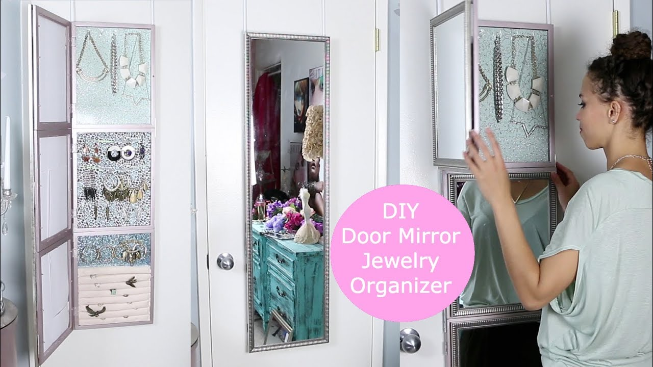 Diy over door jewelry display mirror youtube solutioingenieria