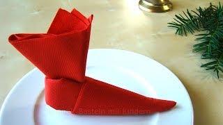 Repeat youtube video Servietten falten Weihnachten & Nikolaus: Nikolausstiefel - Tischdeko Advent & Weihnachten