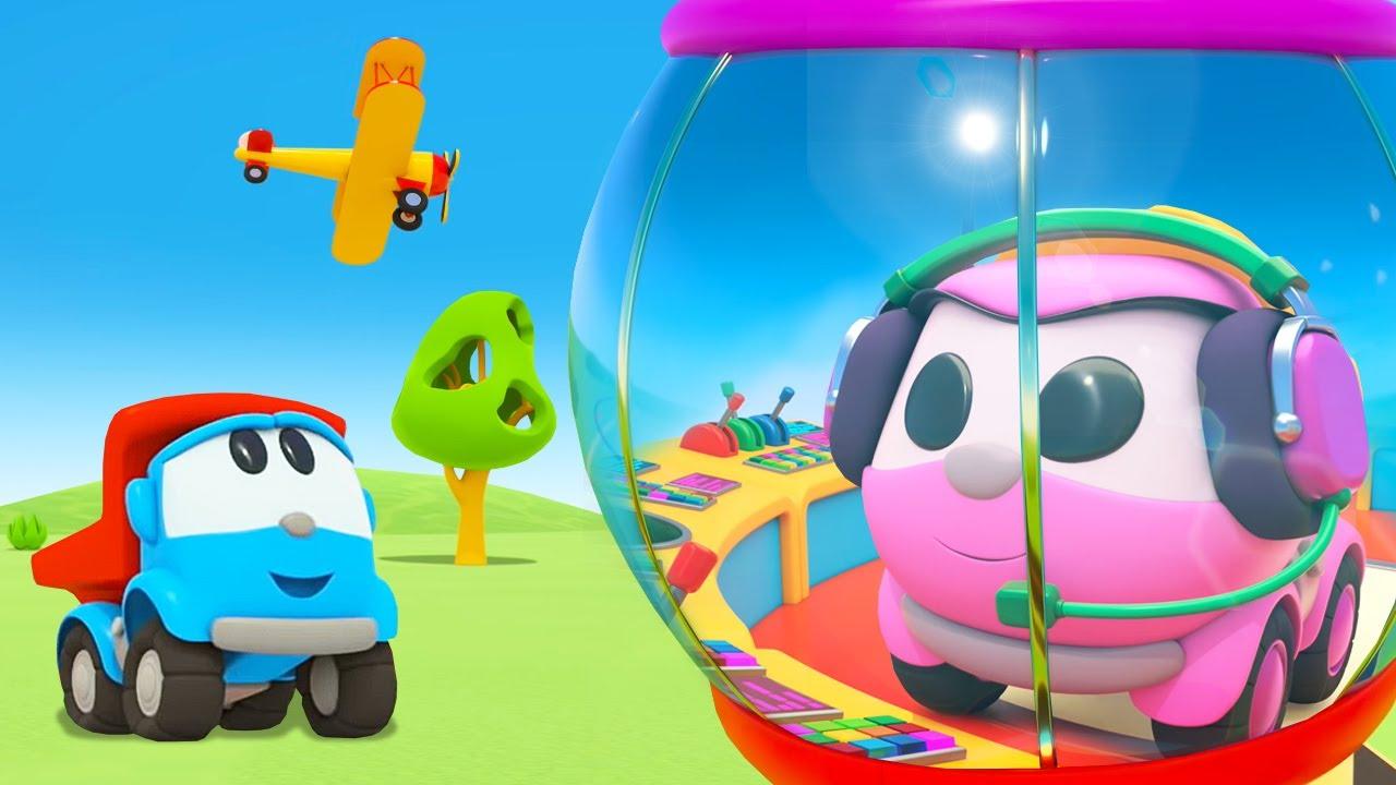 Léo, o caminhão, ajuda os aviões a pousar no aeroporto! Desenho animado para crianças
