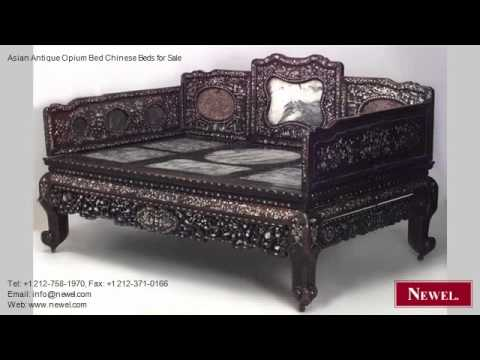 asian antique opium bed chinese beds for sale youtube. Black Bedroom Furniture Sets. Home Design Ideas
