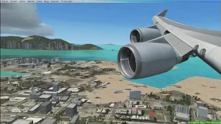 [FSX] PMDG B747-400 Garuda Indonesia landing at Kai Tak