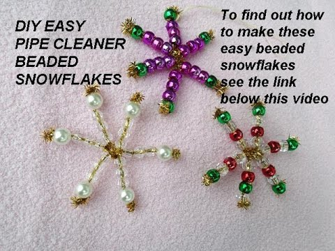 BEADED SNOWFLAKES, Christmas Ornaments, gift toppers, pipe ...