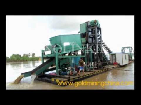 Bucket ladder dredger for gold and gemstones recovery in Gui
