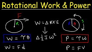 Rotational Power, Work, Energy, Torque & Moment of Inertia - Physics Problems