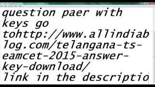 telangana eamcet keys and question paper