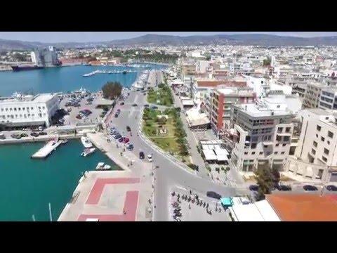 Volos beach aerial footage