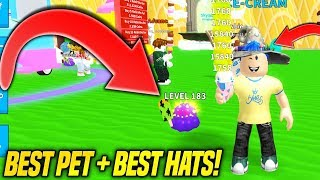 BEST PET + BEST HATS IN ICE CREAM SIMULATOR IS SOO OVERPOWERED!! (Roblox)