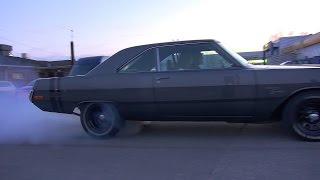 MOPAR POWER!! '73 Dodge Dart Swinger - Insane Burnout and Acceleration!