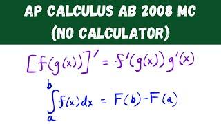 AP Calculus 2008 Multiple Choice (No Calculator)