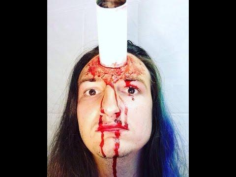 SFX makeup tutorial metal pipe in head | Halloween 2016 FX Makeup