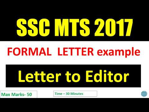 SSC MTS Descriptive Letter to editor formal letter example