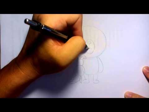 วาดการ์ตูนกันเถอะ วาดรูปการ์ตูน หมี brown line