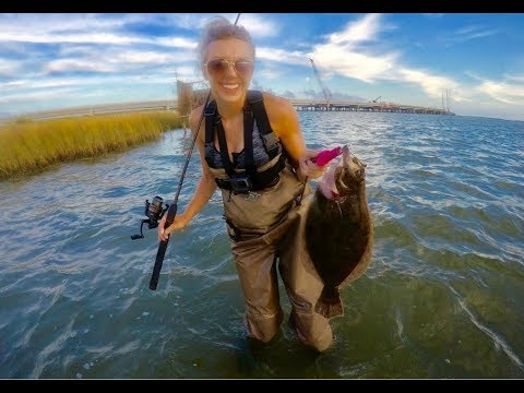 Oregon Inlet Wade Fishing For BIG FLOUNDER And DRUM In OUTER BANKS With Berkley GULP!