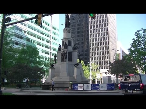 Views of Downtown Detroit Michigan on Woodard Ave