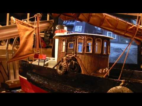 Timelapse and mods to the DIY 1920's working live steam tugboat, new captains cabin