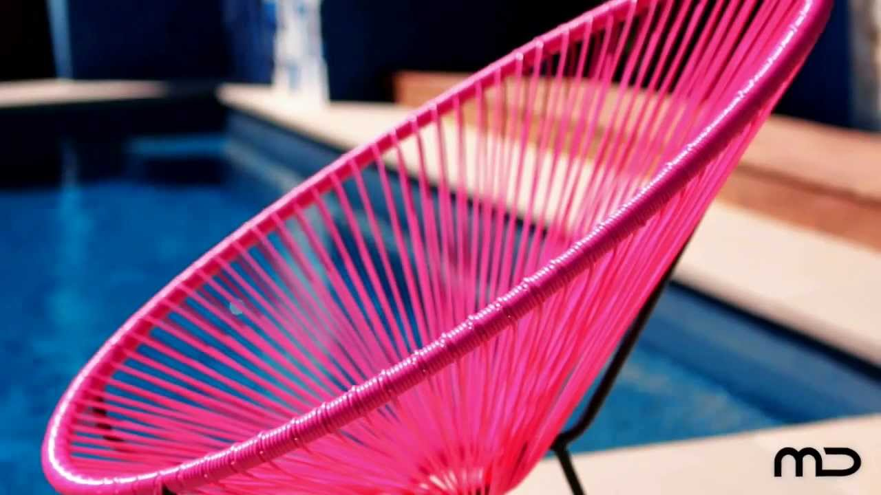 Acapulco Chair Replica Outdoor Wicker Pink Milan