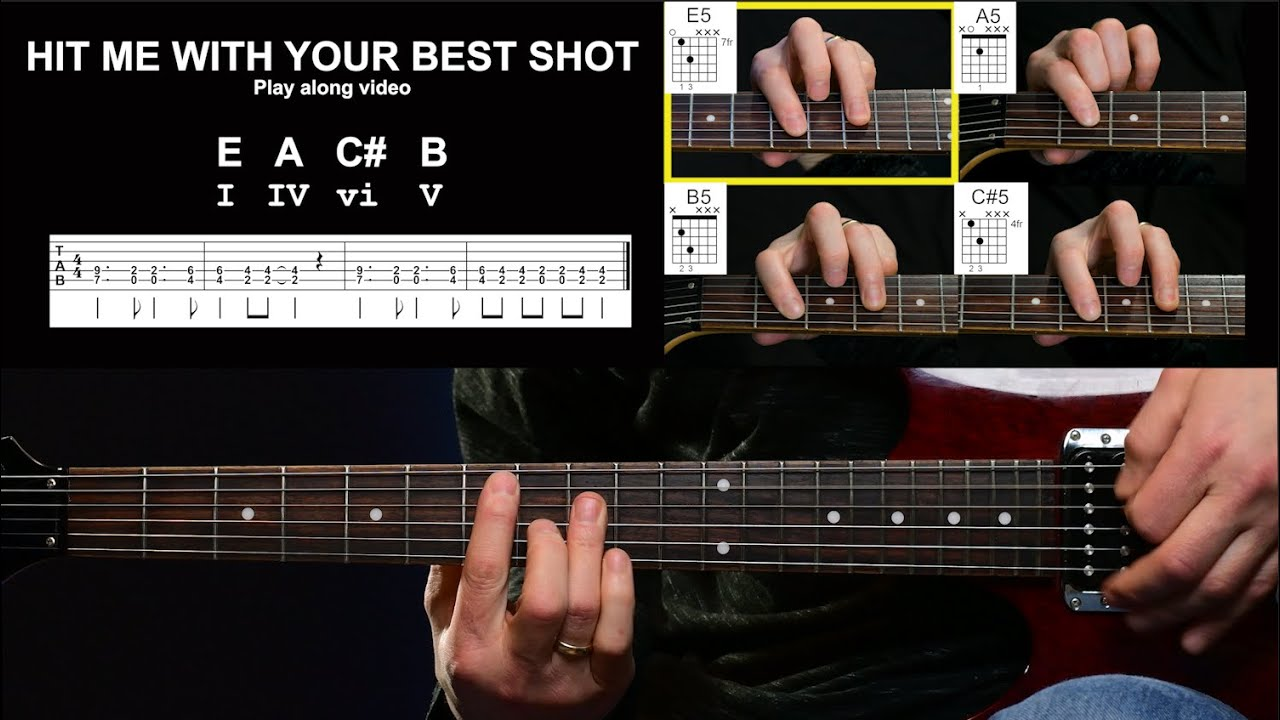 HIT ME WITH YOUR BEST SHOT   Play along video   Beginning Guitar   Open and  Power Chords